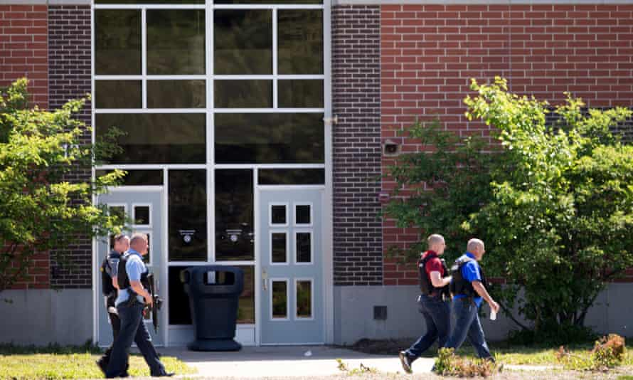 Police officers outside Noblesville West middle school, Friday.