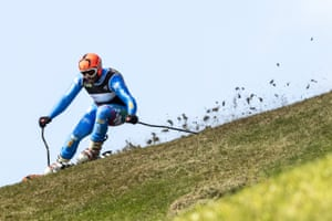 Italy's Mattia Arrigoni of Italy in action during the men's Super G Super Combined