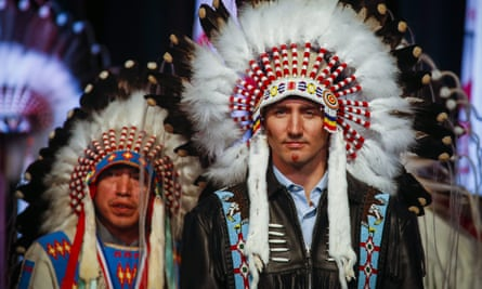 Justin Trudeau in a ceremonial headdress while visiting the Tsuut'ina First Nation near Calgary, Alberta.