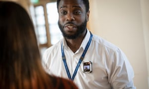 An assistant nurse practitioner uses a body camera on the ward at the Lakeside mental health unit in West Middlesex university hospital