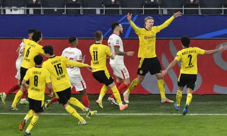 Haaland double and VAR drama help Dortmund past Sevilla in feisty contest