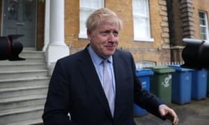 Boris Johnson outside his home in London