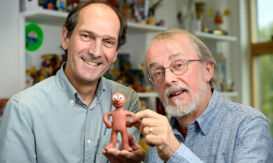 Aardman founders David Sproxton and Peter Lord with Morph