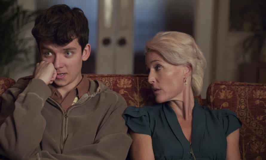 Asa Butterfield and Gillian Anderson in a scene from Sex Education.