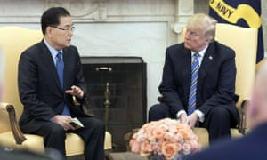 Chung Eui-yong and Donald Trump in the White House.