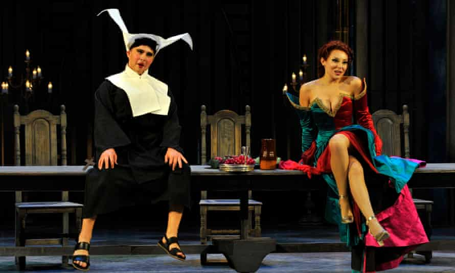 Having the time of their lives... Jack Swanson as Count Ory and Andrea Carroll as Countess Adele in Garsington Opera's production of Rossini's opera Le Comte Ory