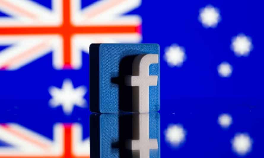 Facebook logo and Australian flag
