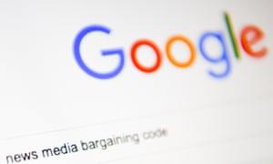 News Media Bargaining Code is written inside a Google search bar is seen on a computer screen