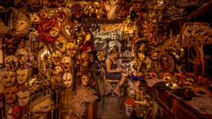 Venetian-born mask creator Marilisa Dal Cason, surrounded by her creations