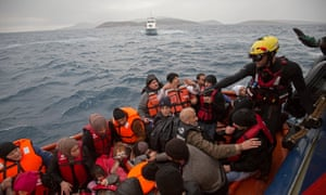 M.O.A.S rescue launch from main ship Topaz rescue syrian refugees from their liferaft which had got into trouble near the island of Agathonisi.