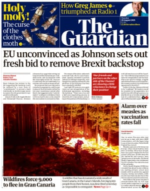 Guardian front page, Tuesday 20 August 2019