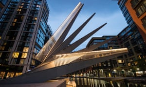 Fan Bridge at dusk, Paddington Basin, London, UK.