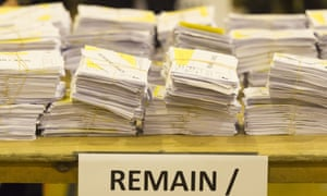 Ballot papers marked remain at Llanishen leisure centre in Cardiff, Wales.