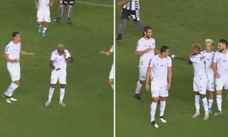 Santos forward Marinho performs VAR celebration after scoring – video