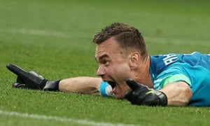 Russia's goalkeeper Igor Akinfeev celebrates after saving his second penalty against Spain in the last-16 shootout match.