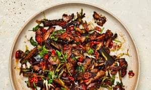 Yotam Ottolenghi's crispy cumin lamb with aubergine and ginger.