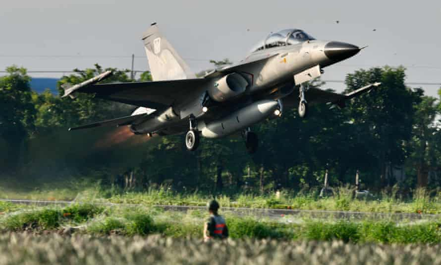 An Indigenous Defence Fighter takes off from a motorway in Pingtung, southern Taiwan, on Wednesday.