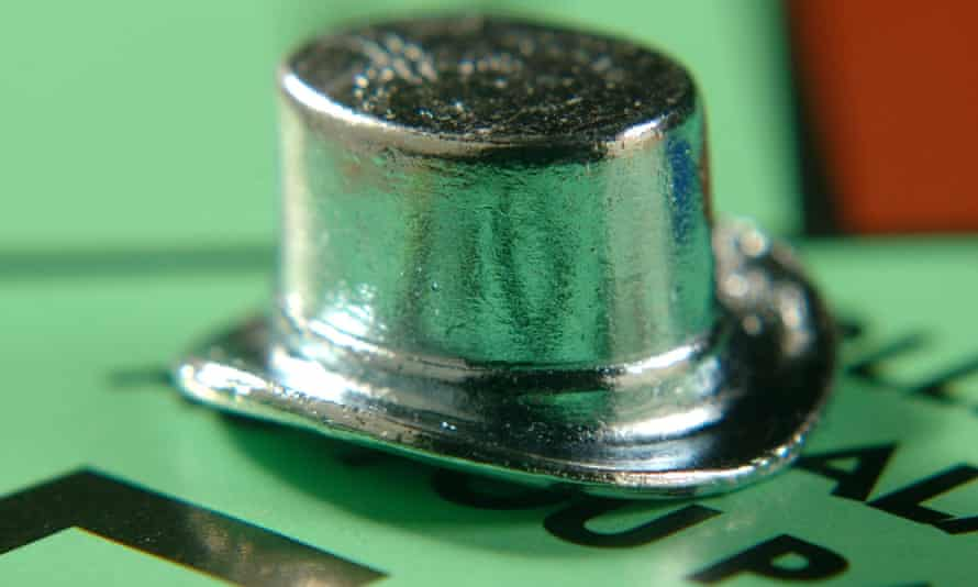 The top hat on a Monopoly board