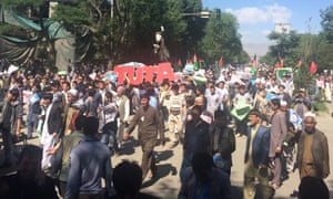 Crowds gather on the street in Kabul, Afghanistan for the massive anti-government protest.