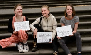 Three climate change school strikers from Castlemaine, Victoria. Nimowei Johnson (R) Harriet O'Shea Carre, Milou Albrecht (L).