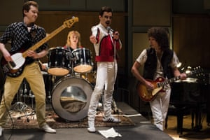 Joe Mazzello, Ben Hardy, Rami Malek and Gwilym Lee in Bohemian Rhapsody.