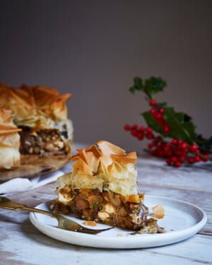 Spiced chestnut and squash filo pie.