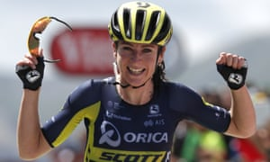 Annemiek van Vleuten celebrates as she wins the first stage of La Course.