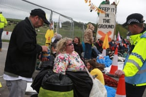 Protesters at Preston New Road in Fylde, Lancashire, on Monday.