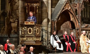 The Prince of Wales addresses the service at Westminster Abbey in London to celebrate the contribution of Christians in the Middle East.