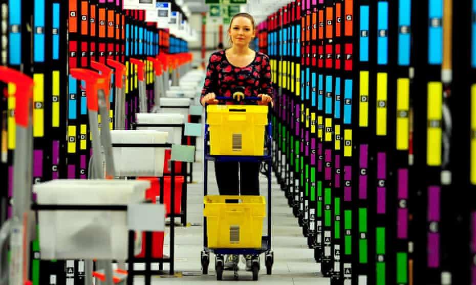 Stock being picked at Amazon's warehouse in Hemel Hempstead