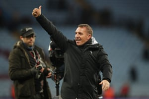 Brendan Rodgers salutes the fans after watching his tea, beat Aston Villa 1-4.