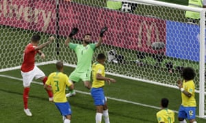 Switzerland's Steven Zuber  scores his side's equaliser in the drawn group match with Brazil, still the only goal they have conceded in Russia.