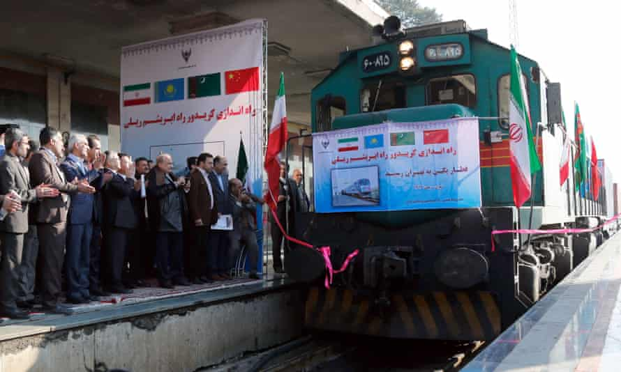 A Chinese cargo train arrives in Tehran