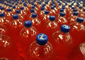 Bottles of Irn Bru in the production hall at AG Barr's Irn Bru factory in Cumbernauld.