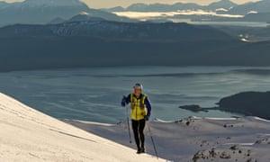 John Nagel hiking in the mountains above Juneau, Alaska, in December 2015