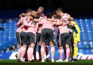 Sheffield United huddle prior to kick-off.