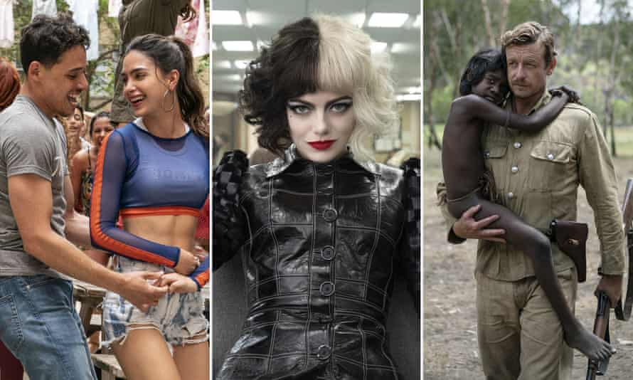 'The joy we need in this grim time' … Anthony Ramos and Melissa Barrera in In the Heights, Emma Stone in Cruella and Simon Baker in Higher Ground.