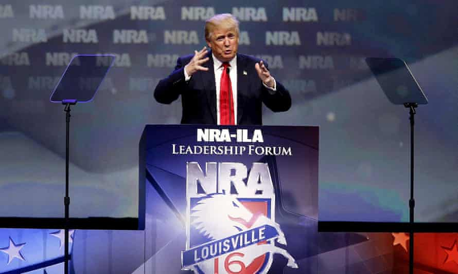 The Republican presidential candidate Donald Trump speaks at the NRA Leadership Forum in Louisville, Kentucky, on 20 May.