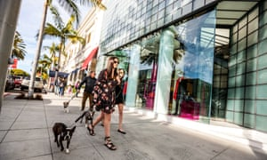 Shoppers walking dogs on Rodeo Drive, Beverly Hills, US