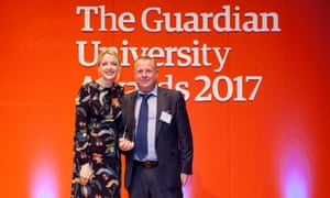 Host Lauren Laverne presents the Buildings that inspire award to Nottingham Trent University at the Guardian University Awards 2017 held at LSO St Luke's in Old Street, London. 29 March 2017