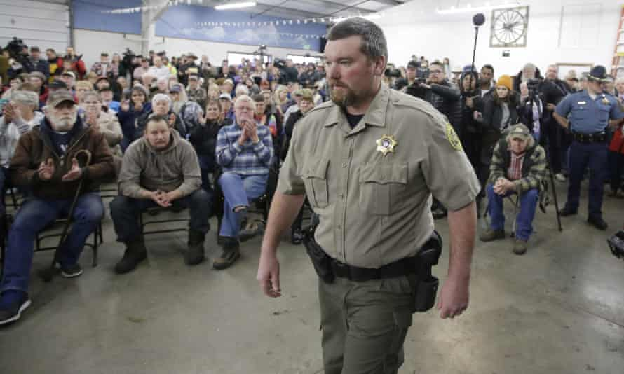 David Ward arrives to the community meeting at the Harney County fairgrounds.