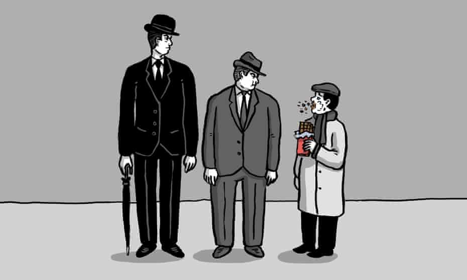 Parody of the 1966 TV 'Class sketch', showing two men looking down on a man in a cloth cap eating chocolate