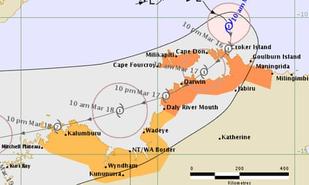 Cyclone Marcus forecast track map issued at 11:13 am ACST Friday 16 March 2018.