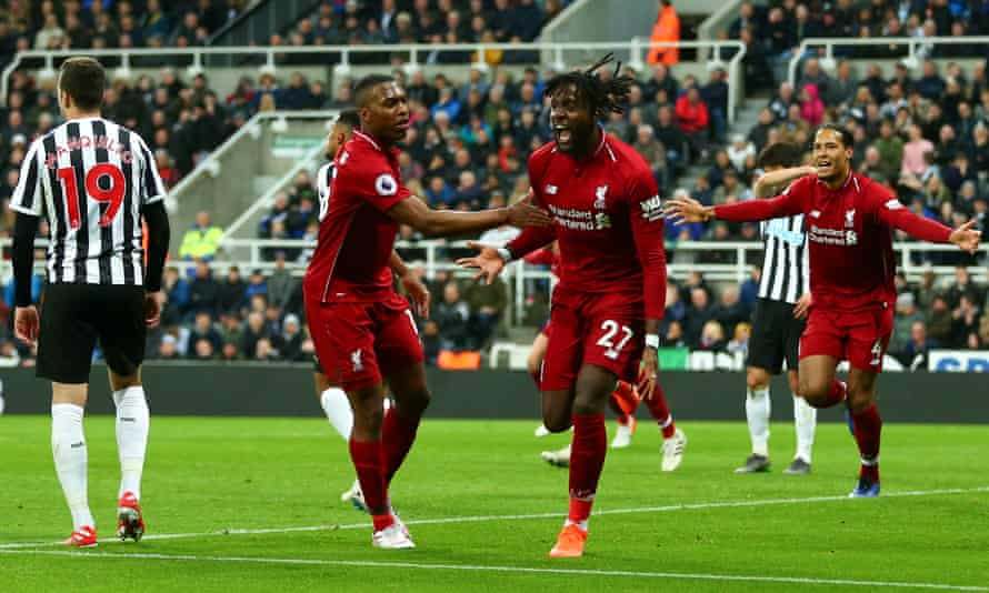 Divock Origi screams in delight after putting Liverpool's title challenge back on track with a late winner against Newcastle United at St James' Park.