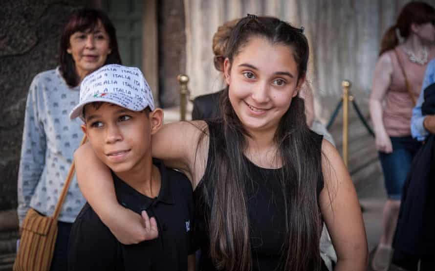 Anyervi, 13, and Brenda, 15, who both have early-onset Huntington's