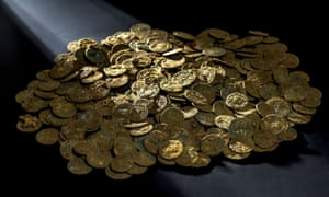 Some of Roman coins found in Ueken, Aargau canton, which experts say were buried 1,700 years ago.