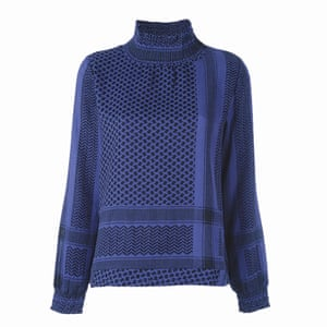 blue and black patterned high necked blouse, Cecile Copenhagen