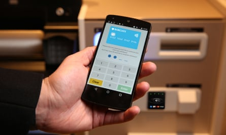 Barclays banking smartphone app and ATM