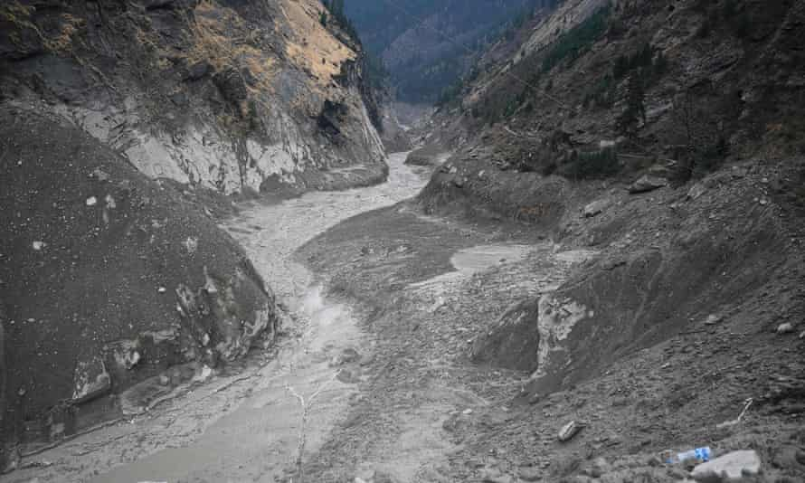 The Rishiganga river in Chamoli district on 9 February 9, with debris from the hydroelectric plant visible.