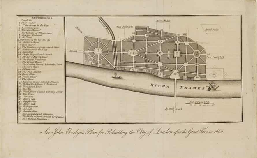 John Evelyn's plan. The Great Fire of London and how London was planned again afterwards.